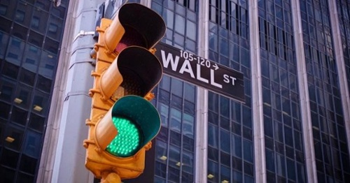 Green Traffic Light on Wall Street