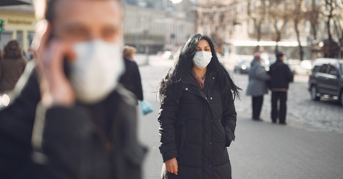 People on Street with PPE Masks